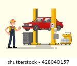 car repair. auto mechanic near... | Shutterstock .eps vector #428040157