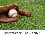 closeup baseball in glove | Shutterstock . vector #428052874