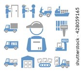 shipping  logistics icon set | Shutterstock .eps vector #428059165