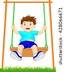boy on swing in the park | Shutterstock .eps vector #428066671