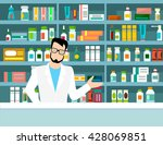 pharmacist drug store workplace ... | Shutterstock .eps vector #428069851