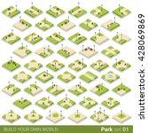 isometric park walkway street... | Shutterstock .eps vector #428069869