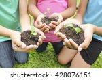 hands holding sapling in soil... | Shutterstock . vector #428076151