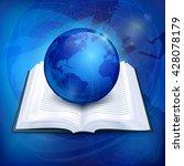 globe blue sphere earth on book ... | Shutterstock .eps vector #428078179