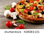delicious tasty pizza with... | Shutterstock . vector #428081131