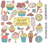 Doodle Set With Sweet Cupcakes...