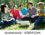group of students studying... | Shutterstock . vector #428091244