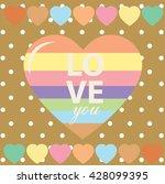 happy valentine day card vector ... | Shutterstock .eps vector #428099395