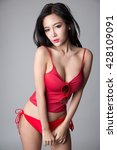sexy asian girl wearing red... | Shutterstock . vector #428109091