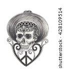 skull art day of the dead ... | Shutterstock . vector #428109514