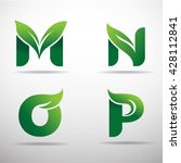 set of green eco letters logo... | Shutterstock .eps vector #428112841