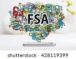 fsa concept with smartphone on... | Shutterstock . vector #428119399
