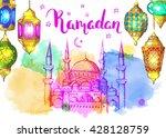 mosque at night. ramadan kareem.... | Shutterstock .eps vector #428128759