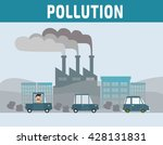 factory pipe polluting air. car ... | Shutterstock .eps vector #428131831