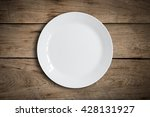 Blank White Dish On A Wood...