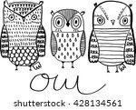vector hand drawn owl sitting... | Shutterstock .eps vector #428134561