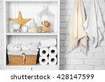 bathroom set with towels ... | Shutterstock . vector #428147599