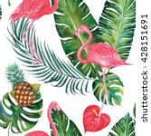 tropical jungle nature flamingo ... | Shutterstock . vector #428151691