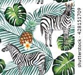 tropical jungle with zebra ... | Shutterstock . vector #428151709