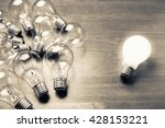 white light bulb glowing... | Shutterstock . vector #428153221