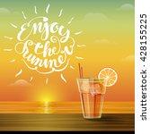 summer glass of cold lemonade... | Shutterstock .eps vector #428155225