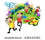happy children in colorful caps ...   Shutterstock .eps vector #428165281