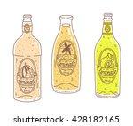 fresh lemonade in bottles.... | Shutterstock .eps vector #428182165