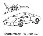 hand drawn sketch italian car... | Shutterstock .eps vector #428205367
