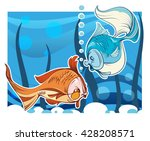 the vector image of two fishes ... | Shutterstock .eps vector #428208571