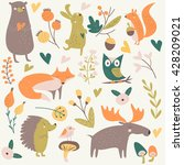 vector forest set with cute... | Shutterstock .eps vector #428209021