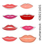 shapes of lips set of vector...   Shutterstock .eps vector #428211601