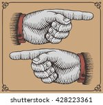 vintage hands with pointing... | Shutterstock .eps vector #428223361