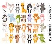 big set of cute cartoon animals ... | Shutterstock .eps vector #428230897