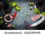 italian still life with salami  ... | Shutterstock . vector #428249449