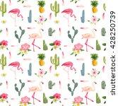 Tropical Flamingo Bird And...