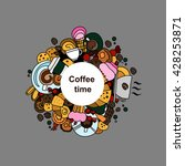 coffee round design in outline... | Shutterstock .eps vector #428253871