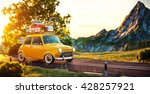 cute little retro car with... | Shutterstock . vector #428257921