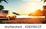 cute retro car on a beach at... | Shutterstock . vector #428258125
