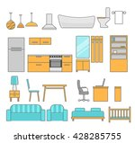 home furniture icons set. flat... | Shutterstock .eps vector #428285755
