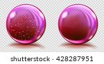 Two Big Pink Glass Spheres Wit...