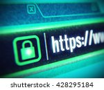 Macro lcd screen with Https string and padlock icon. Secure Sockets Layer, SSL secure concept. 3d render - stock photo