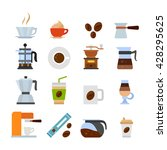 colored coffee icons set. flat... | Shutterstock .eps vector #428295625