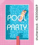 pool party poster template with ... | Shutterstock .eps vector #428306869