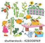 in the garden. a cute girl and...   Shutterstock . vector #428308969