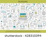 blogging and social media hand... | Shutterstock .eps vector #428310394