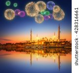 beautiful fireworks under... | Shutterstock . vector #428316661