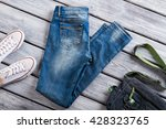 blue jeans and denim purse....   Shutterstock . vector #428323765