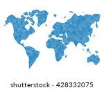 blue polygonal world map. world ...