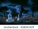 graveyard on moonlit night with ...
