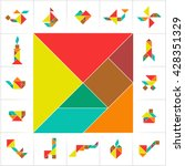 tangram set  cut   play.... | Shutterstock .eps vector #428351329